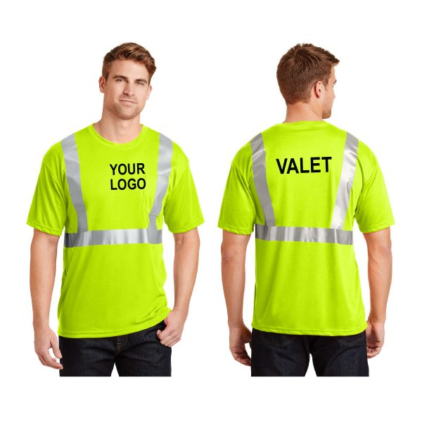 safety-green safety t-shirt with gray stripes and logo, front and back view, white background