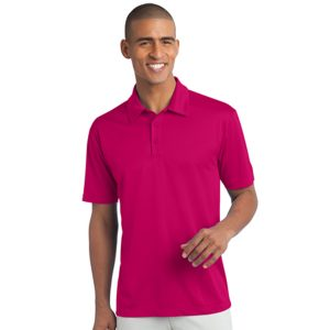 raspberry pink polo with logo, front view, white background