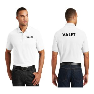 white t-shirt with logo, front and back view, white background