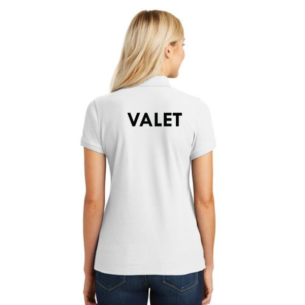 white t-shirt with logo, back view, white background