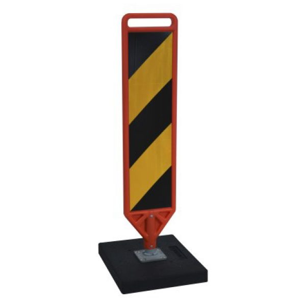 yellow paddle with black stripes and black base, white background