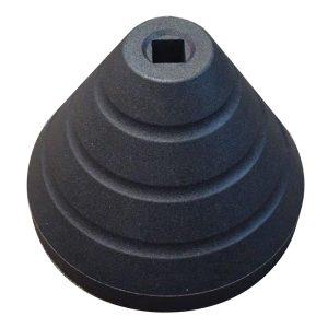 black rubber base, white background
