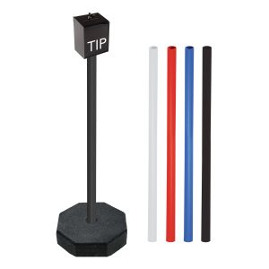 black acrylic tip box with colored poles, white background
