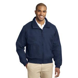 blue jacket, white background