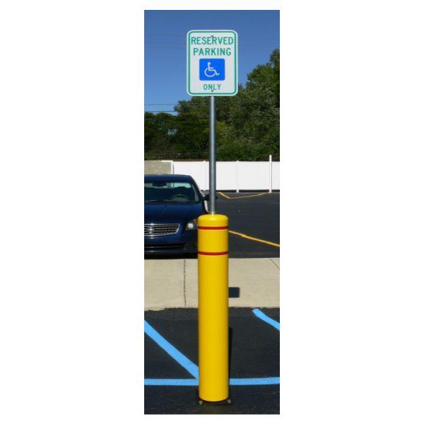 yellow flexbollard with signpost