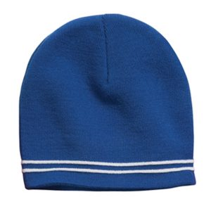 blue skull cap with white stripes, white background