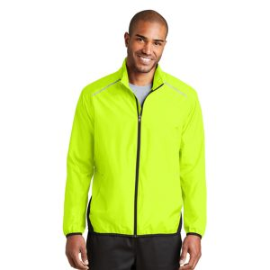 safety green jacket, white background