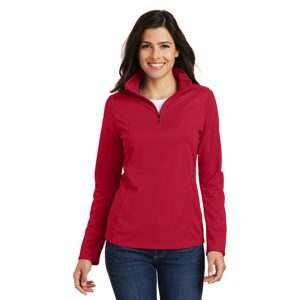 red long sleeve shirt with collar zip, front view, white background