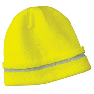 yellow skull cap with gray stripe, white background