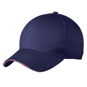 dark purple cap with pink stripe, white background