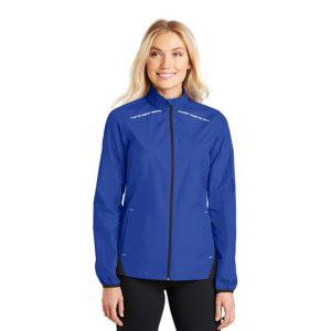 blue jacket with light blue stripes, white background