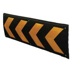 black wall protector with yellow arrows, white background
