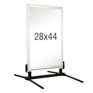 White frame with black stand, white background