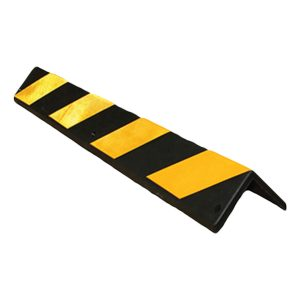 black industrial strength rubber wit yellow stripes, white background