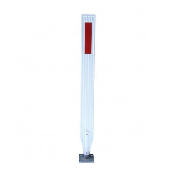 white delineator and base with red stripe, white background