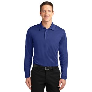 blue long sleeve shirt, front view, white background
