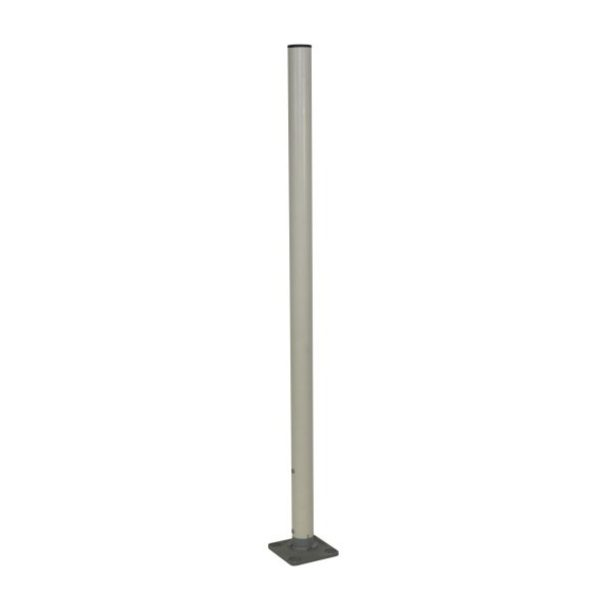 silver post and base, white background