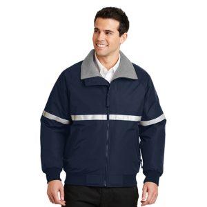 blue jacket with white stripes, white background