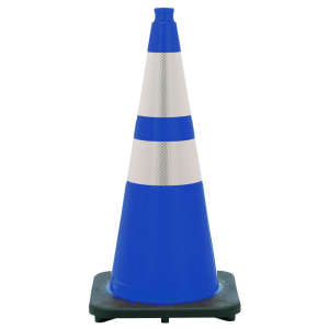 "28"" Blue Traffic Cone Black Base 2 Collars, white background"