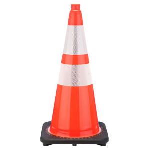 "28"" Orange Traffic Cone Black Base 2 Collars, white background"