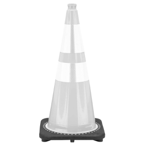 "28"" WhiteTraffic Cone Black Base 2 Collars, white background"