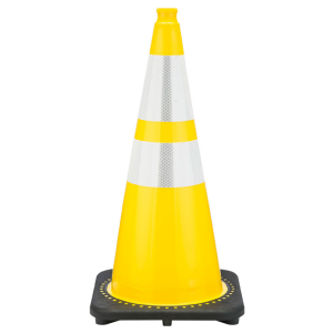 "28"" Yellow Traffic Cone Black Base 2 Collars, white background"