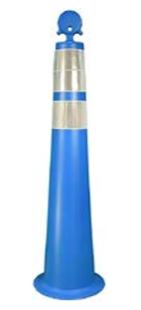"36"" Round-Top Blue Cone, white background"