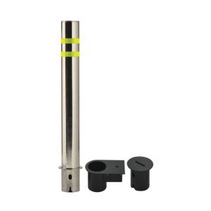"4.5"" Diameter, Removable Stainless Steel Bollard, white background"
