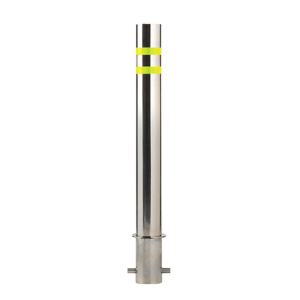 "4.5"" OD Fixed Stainless Steel Bollard, white background"