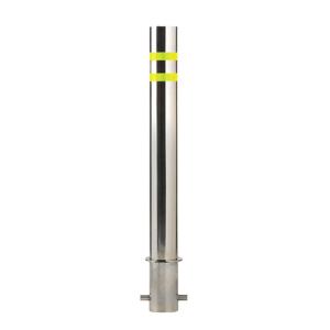 "6.625"" Diameter Fixed Stainless Steel Bollard, white background"