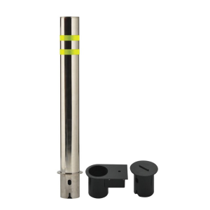 "6.625"" OD Removable Stainless Steel Bollard, white background"