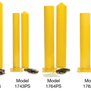 Yellow All-in-one Steel Bollard Posts, white background