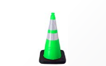 "Enviro-Cone - 28"", 12lb Lime Green, white background"