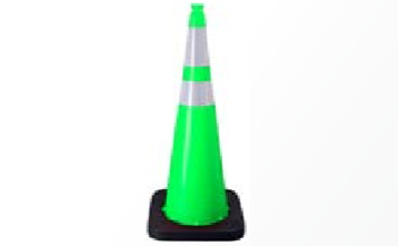 "Enviro-Cone - 36"", 10lb Lime Green, white background"