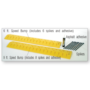 Protective Parking Stops & Speed Bump-Cable Protectors with labels, white background