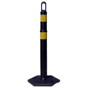 Black Looper Delineator with Yellow Stripes and Base, white background