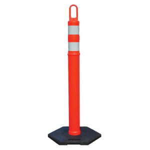 Orange Looper Delineator with Gray Stripes and Base, white background