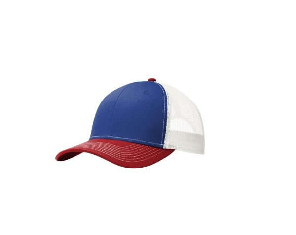 Patriot Blue Flame Red White Trucker Cap Front, White Background