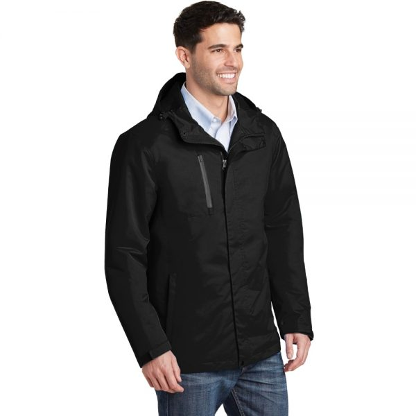 Black All Condition Jacket Model Lean, White Background