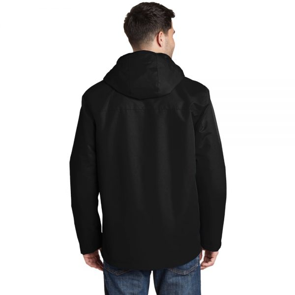 Black All Condition Jacket Model Back, White Background