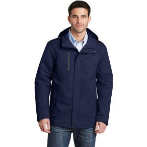 True Navy All Condition Jacket Model Front, White Background