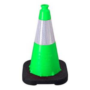 "Enviro-Cone - 18"", 3lb Lime Green, white background"