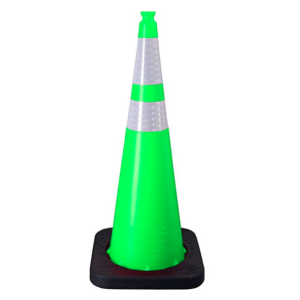 "Enviro-Cone - 36"", 12lb Lime Green, white background"