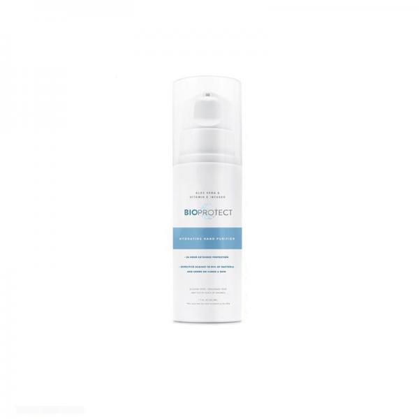 BioProtect Hand Sanitizer white bottle, white background